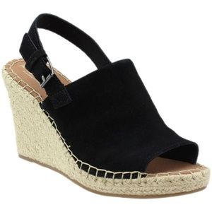 Toms Monica Black Suede Espadrille Wedge Size 8